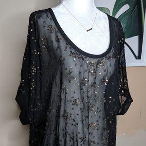 EILEEN FISHER Silk Sheer Black Sequins Blouse